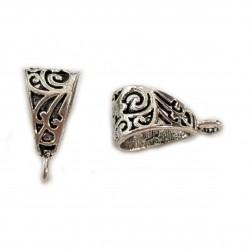 Krawatka ażurowa ozdobna do zawieszenia ozdoby 20x10mm cyna - srebrny / 2 szt
