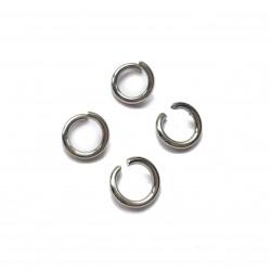 Kółeczka montażowe pojedyncze 6mm stop metalu - srebrny /150szt