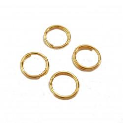 Kółeczka montażowe podwójne 6mm stop metalu - złoty  /150szt