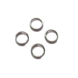 Kółeczka montażowe podwójne 6mm stop metalu - srebrny /150szt