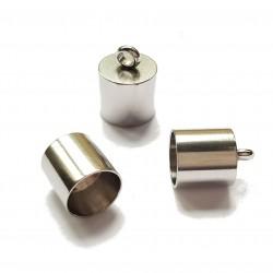Końcówki do wklejania stal nierdzewna 7mm - platynowy /2szt