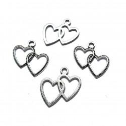 Zawieszka serca 23,5x23mm cyna - srebrny /2szt
