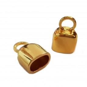 Końcówki do wklejania gładkie 19x12mm złoty cyna