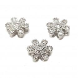 Przekładka ozdobna kwiatem z cyrkoniami 7mm - srebrny