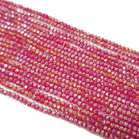 Koraliki szklane fasetowane 3x2mm malinowa czerwień AB sznur