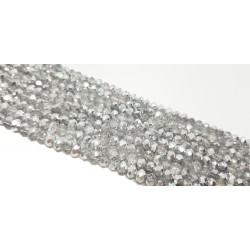 Szkło fasetowane, Koraliki szklane fasetowane 3x2mm transparentny z folią sznur