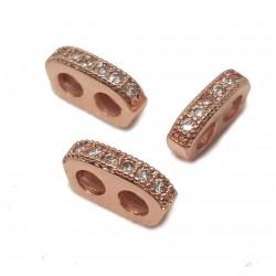 Rozdzielacz przekładka z cyrkoniami 9x5x2mm - różowe złoto