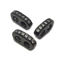 Rozdzielacz przekładka z cyrkoniami 9x5x2mm - czarny