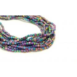 Hematyt 3x3mm kostka błyszczący/matowy sznur - kolorowy