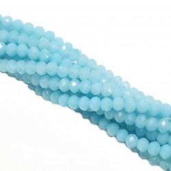 Koraliki szklane fasetowane, szkło fasetowane ponka 4x3mm mleczny jasny niebieski - sznur