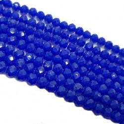 Koraliki szklane fasetowane 4x3mm sznur - kobaltowy