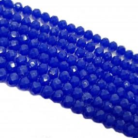 Koraliki szklane fasetowane, szkło fasetowane  4x3mm sznur - kobaltowy
