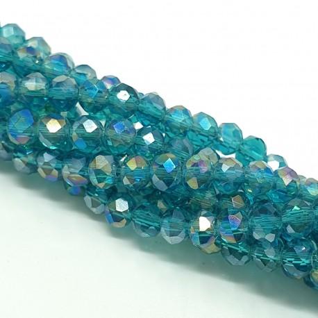 Koraliki szklane, szkło fasetowane oponka 4x3mm transparentne morska zieleń ab - sznur