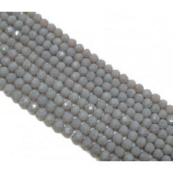 Szkło fasetowane 4x3mm oponka koraliki szary - sznur