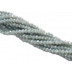 Koraliki szklane fasetowane 3x2mm jasny popiel AB krótki sznur