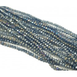 Koraliki szklane fasetowane 3x2mm granatowy AB sznur