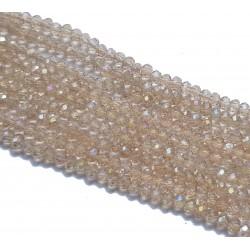 Koraliki szklane fasetowane 3x2mm beżowy AB sznur