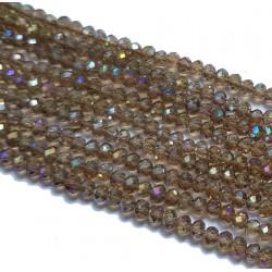 Szkło fasetowane, Koraliki szklane fasetowane 3x2mm brązowy AB sznur