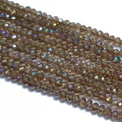 Koraliki szklane fasetowane 3x2mm brązowy AB sznur