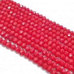 Szkło fasetowane 6x4mm oponka czerwony - sznur