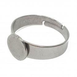 Baza, podstawa pierścionka stal nierdzewna 17mm średnica, średnica podstawy 8mm - platynowy