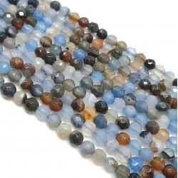 Agat 4mm fasetowana kulka niebieski - brąz mix - sznur