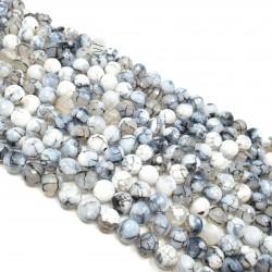 Kamień Agat Ognisty 8mm fasetowana kulka biały - sznur