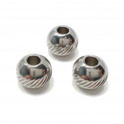 Kulka, przekładka ozdobna wzór 8mm stal nierdzewna - platynowy