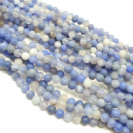 Chalcedon niebieski 6mm gładka kulka - sznur