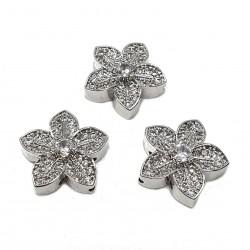 Przekładka ozdobna kwiatek z cyrkoniami 17x16mm - srebrny