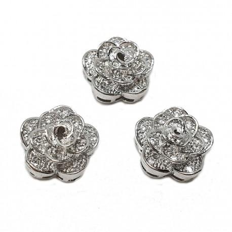 Przekładka róża 11x10mm z cyrkoniami - srebrny