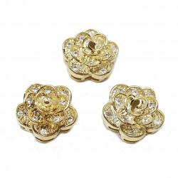 Przekładka róża 11x10mm z cyrkoniami - złoty