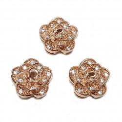 Przekładka róża 11x10mm z cyrkoniami - różowe złoto (rose gold)