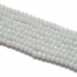 Koraliki szklane fasetowane 4x3mm biały sznur