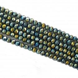 Koraliki szklane fasetowane 4x3mm sznur - niebiesko-zielony