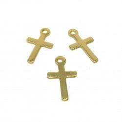 Zawieszka krzyż 12x7mm stal nierdzewna - złoty