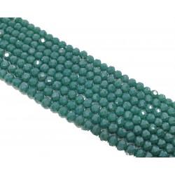 Koraliki szklane fasetowane 4x3mm butelkowa zieleń sznur