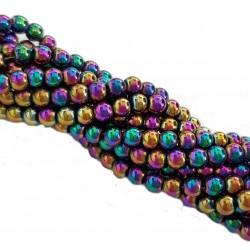 Hematyt gładka kulka 4mm kolorowy tęczowy multikolor - sznur