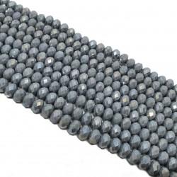 Szkło fasetowane 8x6mm, koraliki szklne oponka szary AB - sznur