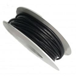 Rzemień skórzany naturalny okrągły 1mm - czarny