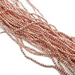 Hematyt 2mm fasetowana kulka rose gold - sznur różowe złoto