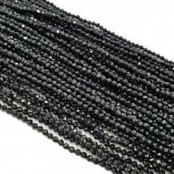 Spinel 2mm fasetowana kulka sznur - czarny