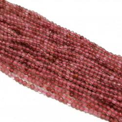 Kwarc Truskawkowy 2mm fasetowana kulka - sznur