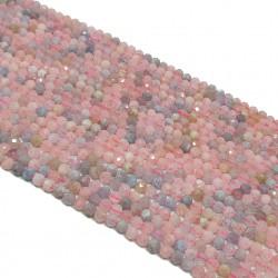 Morganit 3mm fasetowana kulka różowy mix - sznur