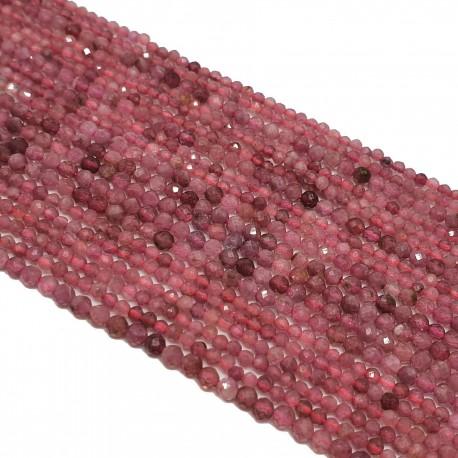 Turmalin różowy 2mm fasetowana kulka - sznur