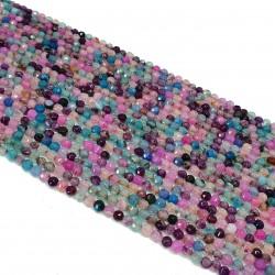 Agat 4mm fasetowana kulka mix kolorów - sznur