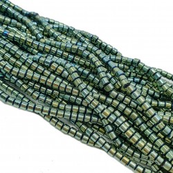 Hematyt 3x3mm wałeczek zielony - sznur