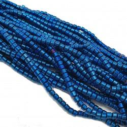 Hematyt 3x3mm wałeczek niebieski - sznur