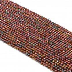 Hematyt 4mm fasetowana kulka czerwony - sznur