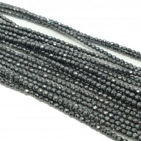 Hematyt 2mm kulki fasetowane grafitowy - sznur